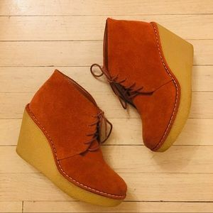 Lands End | Suede Rust Lace Up Bootie Wedge Sz 8.5